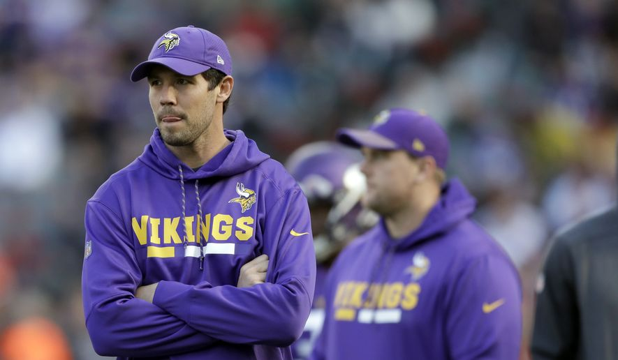Minnesota Vikings quarterback Sam Bradford stands on the pitch before an NFL football game against Cleveland Browns at Twickenham Stadium in London, Sunday Oct. 29, 2017. (AP Photo/Matt Dunham) ** FILE **