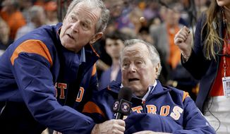 Former Presidents George H.W. Bush and George W. Bush take swings at President Trump in a new book, breaking their pledge to not speak ill of their successors. (Associated Press/File)