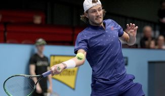 Lucas Pouille of France returns the ball to Jo Wilfried Tsonga of France during their final match at the Erste Bank Open tennis tournament in Vienna, Austria, Sunday, Oct. 29, 2017. (AP Photo/Ronald Zak)