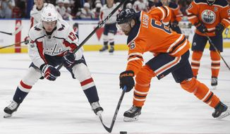 Washington Capitals' Jakub Vrana (13) and Edmonton Oilers' Adam Larsson (6) battle for the puck during the third period of an NHL hockey game in Edmonton, Alberta, Saturday, Oct. 28, 2017. (Jason Franson/The Canadian Press via AP)