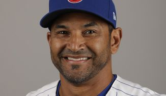 FILE - This Tuesday, Feb. 21, 2017, file photo shows Chicago Cubs bench coach Dave Martinez. A person with knowledge of the deal tells The Associated Press, Sunday, Oct. 29, 2017, that the Washington Nationals and Martinez have agreed to a managerial contract for three years plus an option. (AP Photo/Morry Gash, File) **FILE**