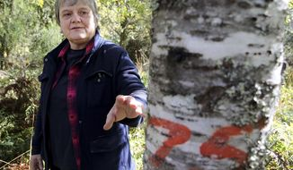 In a Wednesday, Oct. 11, 2017 photo, Terri Jones, a Navy forester at Naval Base Kitsap/Bangor, talks about the numbered fruit trees located in an orchard on the base. The orchard is one of the few remaining remnants of the five or six original homesteads of the former Bangor townsite along the Hood Canal waterfront before the Navy came to the area in the 1940s.   (Larry Steagall/Kitsap Sun via AP)
