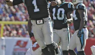 Carolina Panthers quarterback Cam Newton (1) celebrates after picking up a first down against the Tampa Bay Buccaneers during the fourth quarter of an NFL football game Sunday, Oct. 29, 2017, in Tampa, Fla. (AP Photo/Phelan Ebenhack)