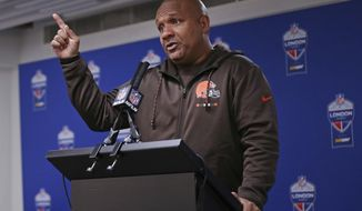 Cleveland Browns head coach Hue Jackson gestures during a press conference after an NFL football game against Minnesota Vikings at Twickenham Stadium in London, Sunday Oct. 29, 2017. Minnesota Vikings won the match 33-16. (AP Photo/Tim Ireland)