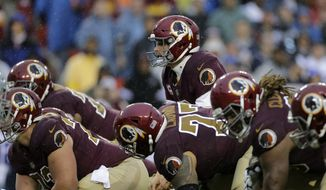 Washington Redskins quarterback Kirk Cousins and the offensive line prepare to run a play during an NFL football game against the Dallas Cowboys, Sunday, Oct. 29, 2017, in Landover, Md. (AP Photo/Mark Tenally)
