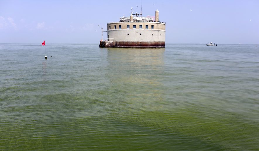 In this Aug. 3, 2014, file photo, the water intake crib for the city of Toledo, Ohio, is surrounded by an algae bloom on Lake Erie, about 2.5 miles off the shore of Curtice, Ohio. Advocacy groups suing the U.S. Environmental Protection Agency over toxic algae in Lake Erie, threatening drinking water in Ohio and Michigan, say the agency's response in court documents filed in October 2017 bolsters their argument that not enough is being done to protect the lake. (AP Photo/Haraz N. Ghanbari, File)