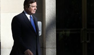 Paul Manafort, departs Federal District Court in Washington, Monday, Oct. 30, 2017. Manafort, President Donald Trump's former campaign chairman, and that Manafort's business associate rick Gates have pleaded not guilty to felony charges of conspiracy against the United States and other counts. (AP Photo/Alex Brandon)