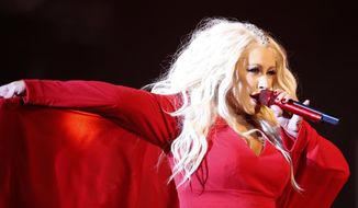 FILE - In this May 28, 2016 file photo, Christina Aguilera performs during a concert at the annual Mawazine Music Festival in Rabat, Morocco. Aguilera will perform a medley of Whitney Houston songs at the American Music Awards on Nov. 19, 2017. (AP Photo /Abdeljalil Bounhar, File)