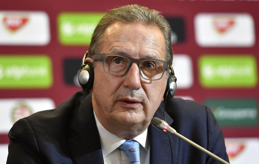 New head coach of the Hungarian national soccer team Georges Leekens of Belgium speaks during a press conference in the training centre in Telki, 19 kms west of Budapest, Hungary, Monday, Oct. 30, 2017. (Tibor Illyes/MTI via AP)