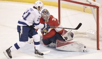 Florida Panthers goalie James Reimer, right, saves a goal attempt by Tampa Bay Lightning's Brayden Point, left, during the first period of an NHL hockey game, Monday, Oct. 30, 2017, in Sunrise, Fla. (AP Photo/Luis M. Alvarez)