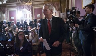 "Senate Majority Leader Mitch McConnell, R-Ky., arrives to announce he will hold votes on four of the president's appellate court nominees and one district court nominee, insisting, ""We'll confirm all of them this week,"" on Capitol Hill in Washington, Monday, Oct. 30, 2017. (AP Photo/J. Scott Applewhite)"