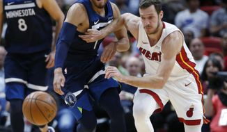 Minnesota Timberwolves guard Tyus Jones (1) and Miami Heat guard Goran Dragic (7) battle for a lose ball during the first half of an NBA basketball game, Monday, Oct. 30, 2017, in Miami. (AP Photo/Wilfredo Lee)