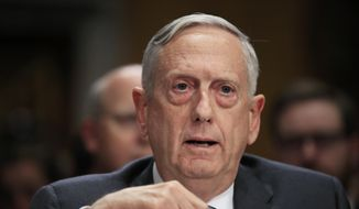 """Secretary of Defense Jim Mattis, testifies during a Senate Foreign Relations Committee hearing on """"The Authorizations for the Use of Military Force: Administration Perspective"""" on Capitol Hill in Washington, Monday, Oct. 30, 2017. (AP Photo/Manuel Balce Ceneta) ** FILE **"""