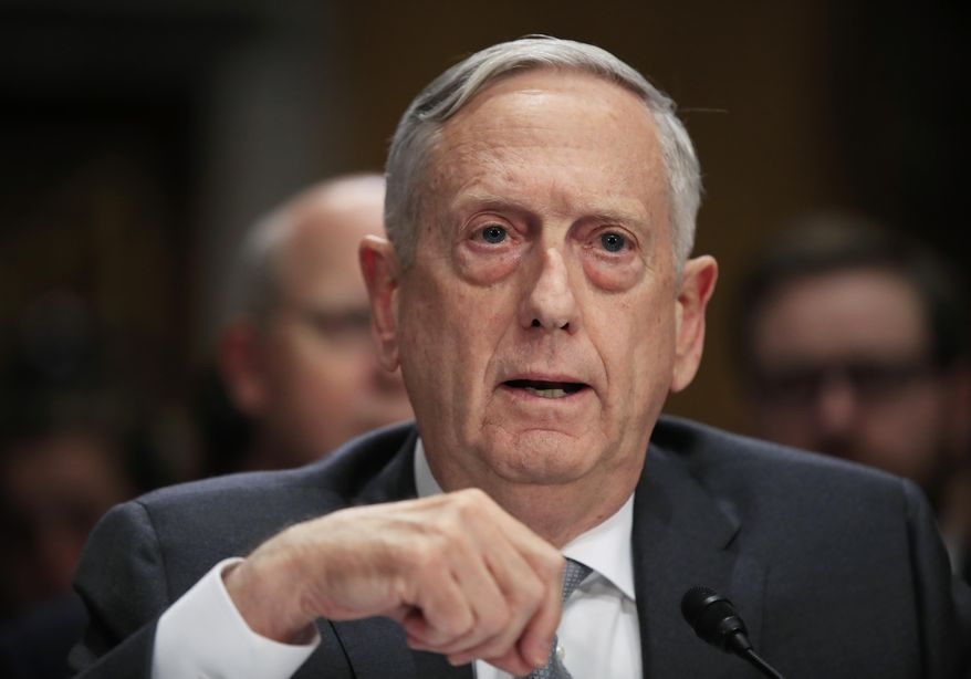"Secretary of Defense Jim Mattis, testifies during a Senate Foreign Relations Committee hearing on ""The Authorizations for the Use of Military Force: Administration Perspective"" on Capitol Hill in Washington, Monday, Oct. 30, 2017. (AP Photo/Manuel Balce Ceneta) ** FILE **"