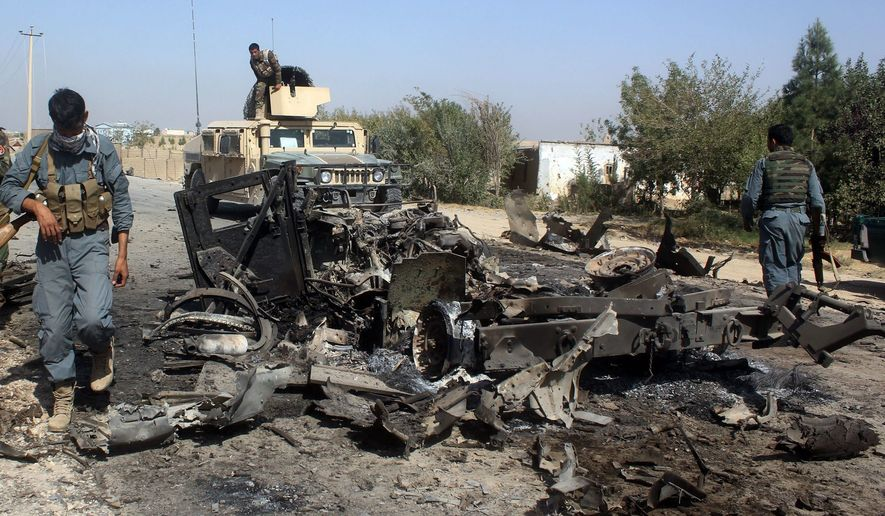 American and allied forces executed more airstrikes against Taliban and Islamic State strongholds in the country than in any year since 2014, but the Taliban claimed control of nine districts previously held by government forces over the past six months. (Associated Press/File)