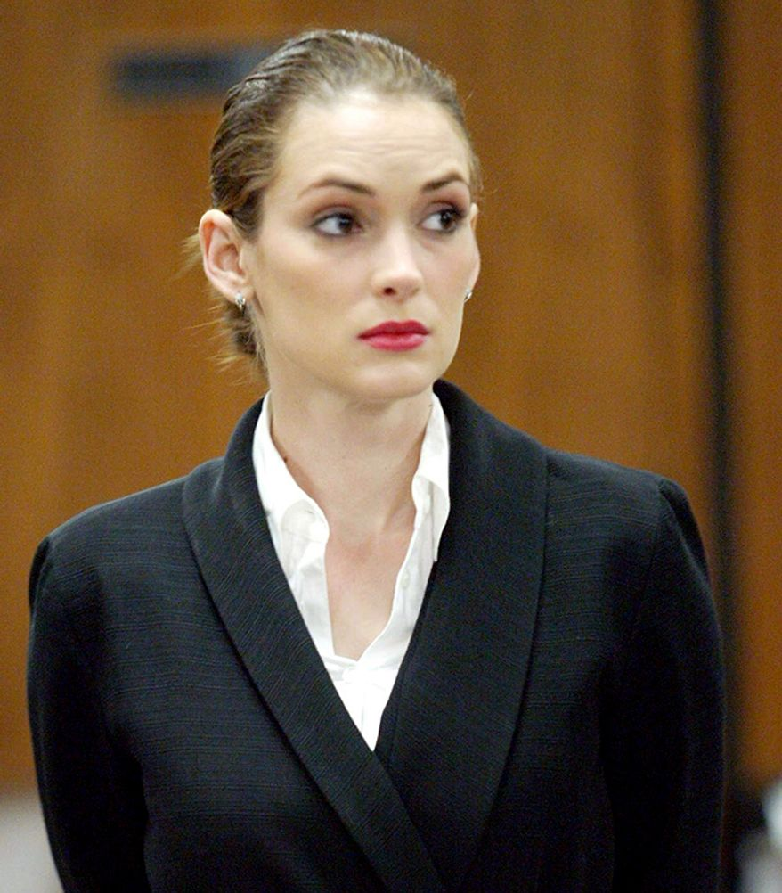 Actress Winona Ryder was arrested at the Saks Fifth Avenue in Beverly Hills after store clerks said they saw her place an estimated $4,760 worth of clothes and accessories into her bag with the security tags ripped off. Ryder was found guilty of two of the three felony counts against her.