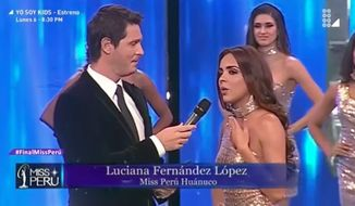 Beauty pageant contestants recited statistics on violence against women instead of their measurements Sunday during Peru's Miss Universe competition. (YouTube)