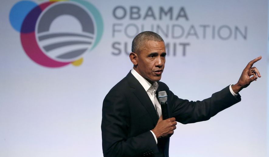 Former President Barack Obama addresses a crowd during the first session of the Obama Foundation Summit, Tuesday, Oct. 31, 2017, in Chicago. (AP Photo/Charles Rex Arbogast)