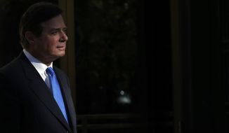 Paul Manafort leaves Federal District Court in Washington, Monday, Oct. 30, 2017. Manafort, President Donald Trump's former campaign chairman, and Manafort's business associate Rick Gates pleaded not guilty to felony charges of conspiracy against the United States and other counts. (AP Photo/Alex Brandon)