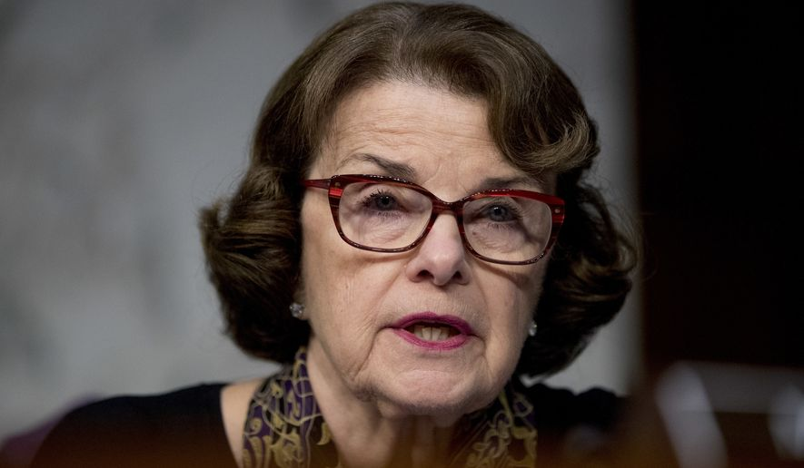 Sen. Dianne Feinstein, D-Calif., speaks as Facebook's General Counsel Colin Stretch, Twitter's Acting General Counsel Sean Edgett, and Google's Law Enforcement and Information Security Director Richard Salgado, testify during a Senate Committee on the Judiciary, Subcommittee on Crime and Terrorism hearing on Capitol Hill in Washington, Tuesday, Oct. 31, 2017, on more signs from tech companies of Russian election activity. (AP Photo/Andrew Harnik) ** FILE **