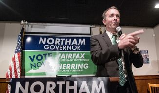 Lt. Gov. Ralph Northam, Democratic candidate for governor, talks to the crowd at a Democratic Party victory rally in downtown Harrisonburg, Va., Monday, Oct. 30, 2017, as part of his campaign. (Daniel Lin/Daily News-Record via AP)
