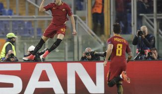 Roma's Stephan El Shaarawy celebrates after scoring his side's opening goal during the Champions League group C soccer match between Roma and Chelsea, at the Olympic stadium in Rome, Tuesday, Oct. 31, 2017. (AP Photo/Alessandra Tarantino)