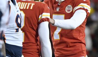 Kansas City Chiefs kicker Harrison Butker (7) is congratulated by teammates after kicking a 51-yard field goal, during the second half of an NFL football game against the Denver Broncos in Kansas City, Mo., Monday, Oct. 30, 2017. (AP Photo/Ed Zurga)
