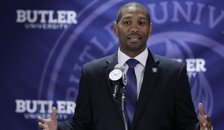 FILE - In this June 14, 2017 file photo, LaVall Jordan speaks during an NCAA college basketball news conference introducing him as the new men's head basketball coach at Butler in Indianapolis. (AP Photo/Darron Cummings, File)