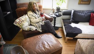 Bel Kambach talks about finally finding a liver donor during an interview Wednesday, Oct. 11, 2017, at her home in St. Cloud, Minn. Kambach has been diagnosed with primary biliary cholangitis, a liver disorder. If she doesn't receive a liver transplant, she will die.  (Jason Wachte /St. Cloud Times via AP)