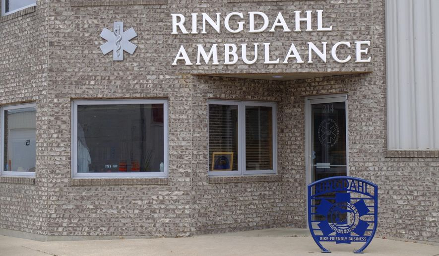 Ringdahl Ambulance Service in Fergus Falls, Minn., seen on Oct. 23, 2017, started in a house 50 years ago with two full time employees. The company now operates in several Minnesota and North Dakota small towns with 90 full and part time employees. (Dan Gunderson/Minnesota Public Radio via AP)