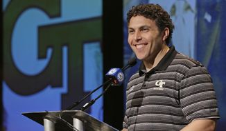 FILE - In this Oct. 25, 2017, file photo, Georgia Tech head coach Josh Pastner answers a question during the Atlantic Coast Conference men's NCAA college basketball media day in Charlotte, N.C. Josh Pastner's first season at Georgia Tech went much better than expected. Heading into his second season as coach, Pastner knows his program is facing much greater expectations. (AP Photo/Chuck Burton, File)