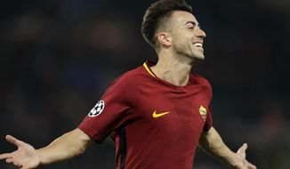 Roma's Stephan El Shaarawy celebrates after scoring his side's second goal during the Champions League group C soccer match between Roma and Chelsea, at the Olympic stadium in Rome, Tuesday, Oct. 31, 2017. (AP Photo/Andrew Medichini)