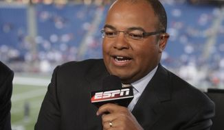 FILE - In this Sept. 14, 2009, file photo, ESPN broadcaster Mike Tirico speaks before an NFL football game between the New England Patriots and the Buffalo Bills in Foxborough, Mass.  Tirico will be NBC's prime-time host for the Winter Olympics, which begin a few days after the Super Bowl in February 2018. (AP Photo/Steven Senne, File)