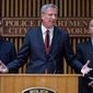 New York City Mayor Bill de Blasio speaks during a news conference, Wednesday, Nov. 1, 2017, at One Police Plaza in New York in the wake of a truck attack on a bike path that killed eight and injured several others Tuesday near One World Trade Center. From left are New York Governor Andrew Cuomo, de Blasio, and New York Police Commissioner James P. O'Neill. (AP Photo/Craig Ruttle) (crdrti for both)