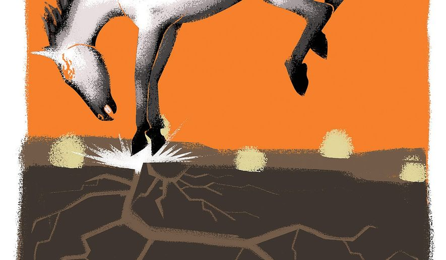 Illustration on free-roaming horses in the western states by Linas Garsys/The Washington Times