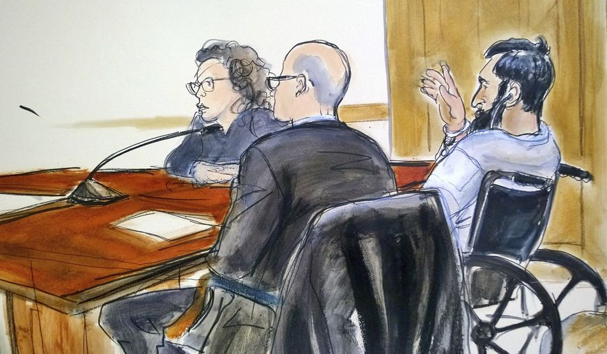 In this courtroom drawing, defendant Sayfullo Saipov, right, addresses the court during his arraignment on federal terrorism charges, Wednesday, Nov. 1, 2017, at Manhattan Federal Court in New York. (Elizabeth Williams via AP)