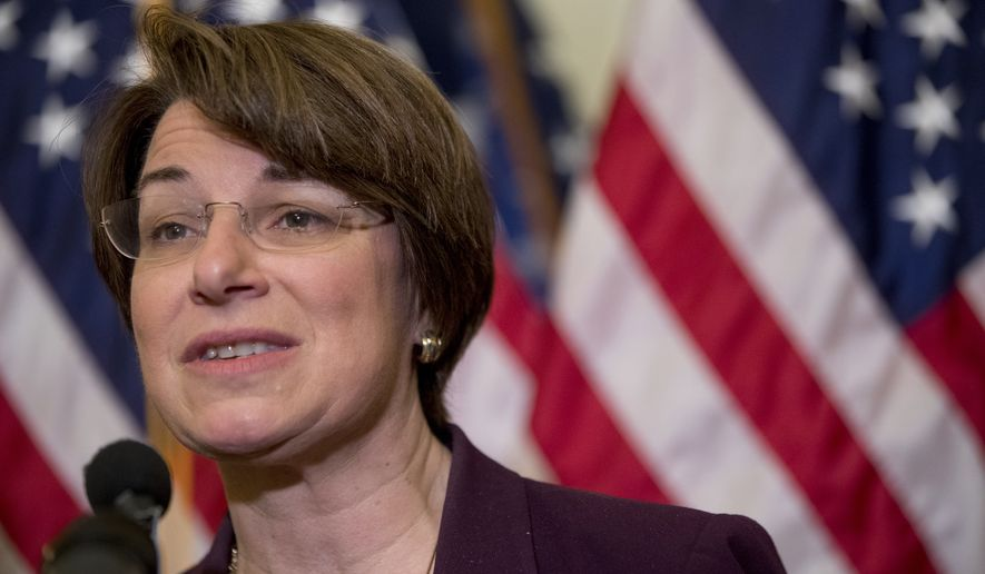 Sen. Amy Klobuchar, D-Minn., speaks at a news conference on American labor on Capitol Hill in Washington, Wednesday, Nov. 1, 2017. (AP Photo/Andrew Harnik) ** FILE **
