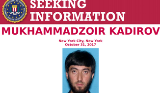 "A poster of Mukhammadzoir Kadirov was released by the FBI and the New York Police Department on Wednesday evening, saying authorities were ""seeking information"" on him."