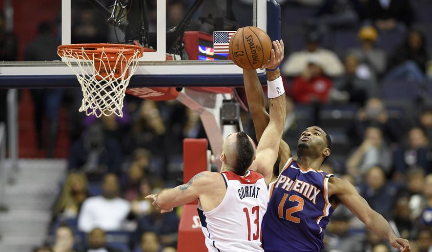 Phoenix Suns forward TJ Warren (12) blocks Washington Wizards center Marcin Gortat (13), of Poland, during the second half of an NBA basketball game, Wednesday, Nov. 1, 2017, in Washington. The Suns won 122-116. (AP Photo/Nick Wass)