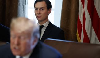 White House senior adviser Jared Kushner listens as President Donald Trump speaks during a cabinet meeting at the White House, Wednesday, Nov. 1, 2017, in Washington. (AP Photo/Evan Vucci)