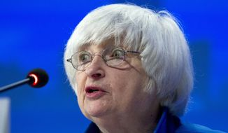 In this Sunday, Oct. 15, 2017, file photo, U.S. Federal Reserve Chair Janet Yellen speaks during the G30 International Banking Seminar, at Inter-American Development Bank headquarters in Washington. (AP Photo/Jose Luis Magana, File)