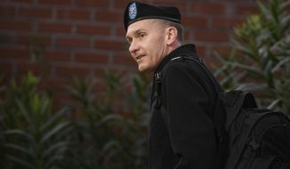 Army judge Col. Jeffery Nance arrives at the Fort Bragg courtroom facility for Army Sgt. Bowe Bergdahl's sentencing hearing on Tuesday, Oct. 31, 2017, on Fort Bragg, N.C. Bergdahl, who walked off his base in Afghanistan in 2009 and was held by the Taliban for five years, pleaded guilty to desertion and misbehavior before the enemy.   (Andrew Craft/The Fayetteville Observer via AP)