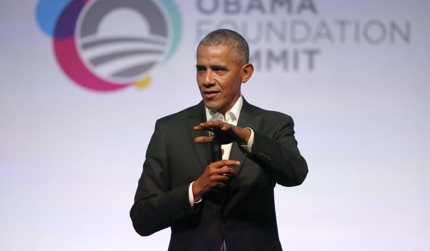 Former President Barack Obama address the crowd during the first session of the Obama Foundation Summit Tuesday, Oct. 31, 2017, in Chicago. (AP Photo/Charles Rex Arbogast) ** FILE **
