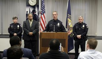 Indianapolis Metropolitan Police Department Chief Bryan Roach speaks during a news conference, Nov. 1, 2017, in Indianapolis. The chief said the department's firearms review board will meet Friday to begin assessing whether the officers followed department policies in the death of 45-year-old Aaron Bailey. A special prosecutor announced Tuesday that the officers won't face criminal charges in the shooting. (AP Photo/Darron Cummings)