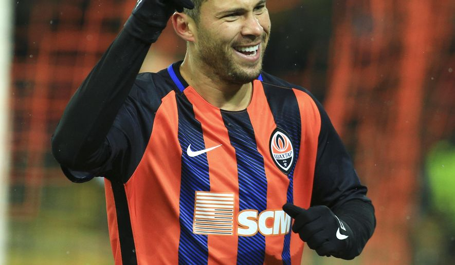 Shakhtar's Marlos celebrates his goal against Feyenoord during a Champions League Group F soccer match between Feyenoord and Shakhtar Donetsk at the Metalist Stadium in Kharkiv, Ukraine, Wednesday, Nov. 1, 2017. (AP Photo/Sergiy Kozlov)