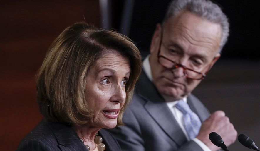 House Minority Leader Nancy Pelosi, California Democrat, and Senate Minority Leader Charles E. Schumer, New York Democrat, are warning Republicans in high-tax blue states of an electoral backlash from middle-class suburbanites if they approve a tax reform bill without state and local tax deductions. (Associated Press/File)