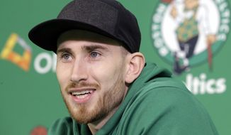 Boston Celtics' Gordon Hayward takes questions from members of the media during an NBA basketball news conference, Thursday, Nov. 2, 2017, at the team's' training facility in Waltham, Mass. Hayward broke his ankle about five minutes into his NBA career opener at Cleveland on Oct. 17, 2017. (AP Photo/Steven Senne) ** FILE **