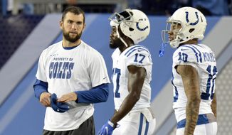 FILE - In this Oct. 16, 2017, file photo, injured Indianapolis Colts quarterback Andrew Luck watches as teammates warm up before an NFL football game against the Tennessee Titans in Nashville, Tenn. The Colts will place Luck on the season-ending injured reserve list. (AP Photo/Mark Zaleski, File) **FILE**