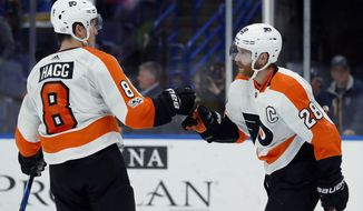 Philadelphia Flyers' Claude Giroux (28) is congratulated by Robert Hagg, of Sweden, after scoring an empty-net goal during the third period of an NHL hockey game against the St. Louis Blues on Thursday, Nov. 2, 2017, in St. Louis. The Flyers won 2-0. (AP Photo/Jeff Roberson)