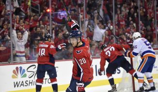 Washington Capitals center Lars Eller (20), of Denmark, celebrates his goal during the first period of an NHL hockey game against the New York Islanders, Thursday, Nov. 2, 2017, in Washington. (AP Photo/Nick Wass)